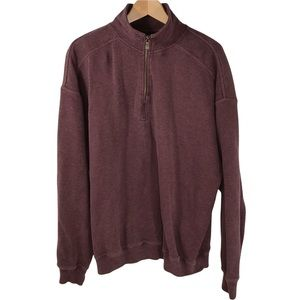 Tommy Bahama Men's 1/4 Zip Pullover Cotton Sweater Wine Red XL